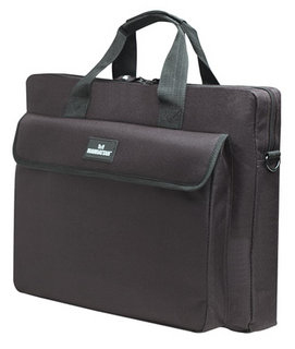 Manhattan London Notebook Computer Briefcase, Top Load: Fits Most Widescreens Up To 15.6inch, Black, interior 29 x 39 x 5